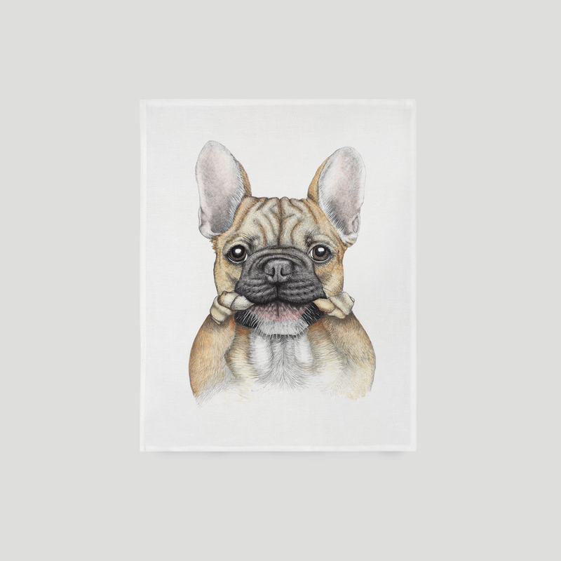 French bulldog / Frenchie towel - by Charlotte Nicolin