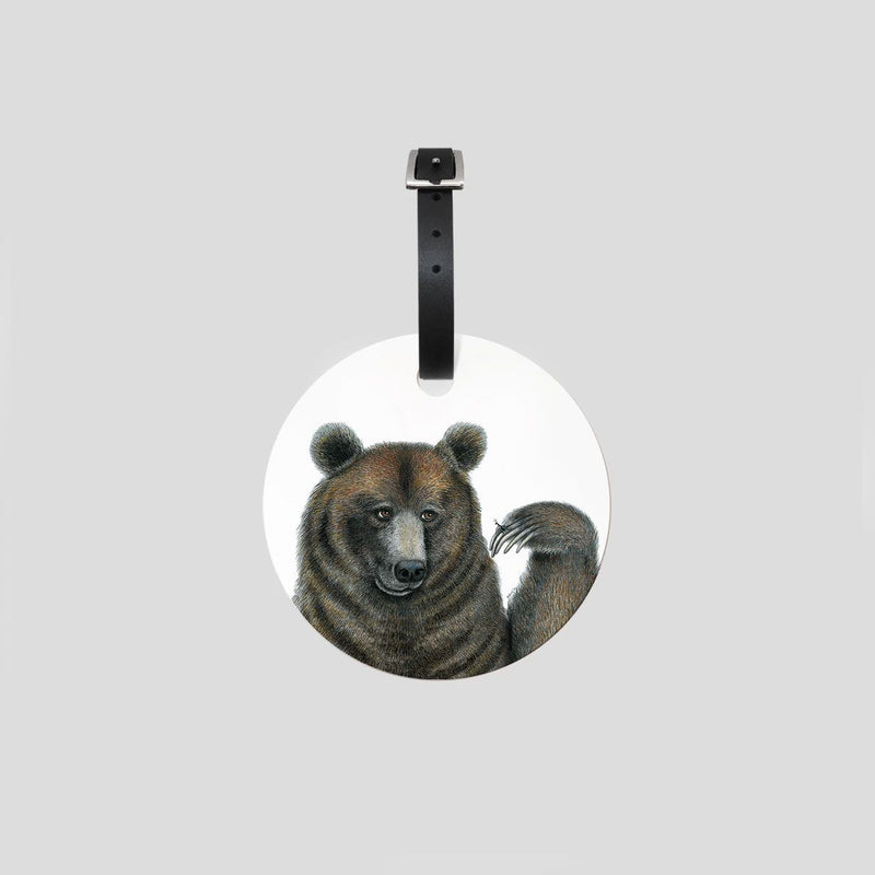 brown bear bagage tag