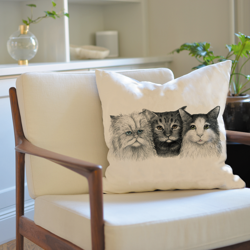 3 cats cushion cover, kudde, coussin, stylish home