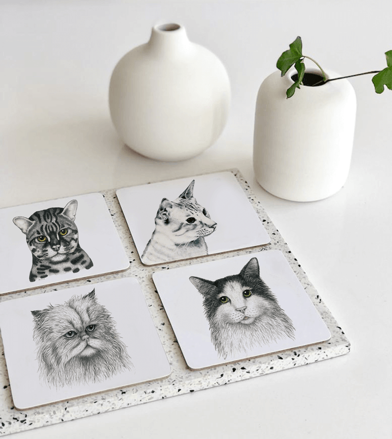 coasters with cat motif
