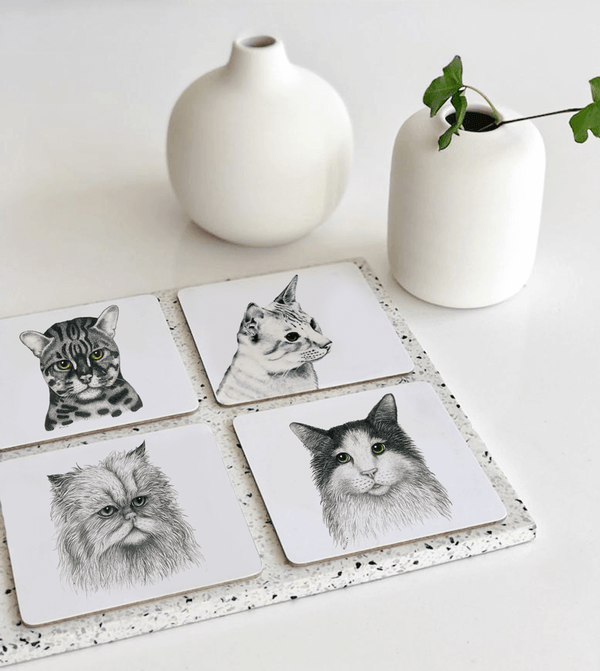 cute cats on coasters