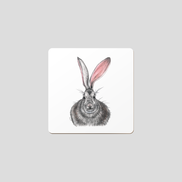 Hare or rabbit drawing on a white background. A coaster inspired by natures animals.
