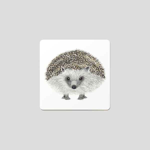 Drawing of a hedge hog on white background. A coaster made of beech with a animal motif.