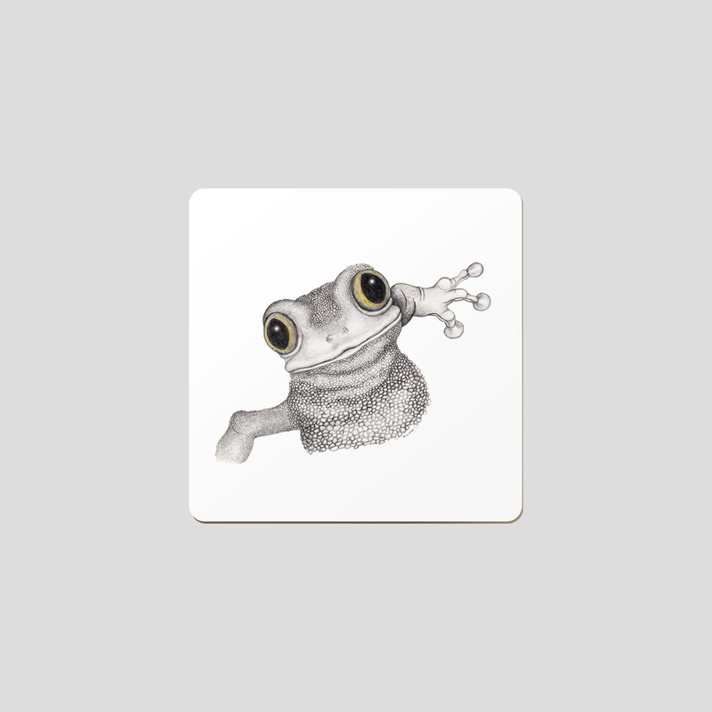 Drawing of a frog with a white background on a coaster.