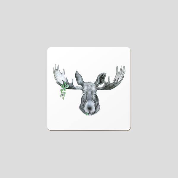 Elk on white background - coaster with wildlife motif