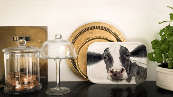 cute cow wooden tray