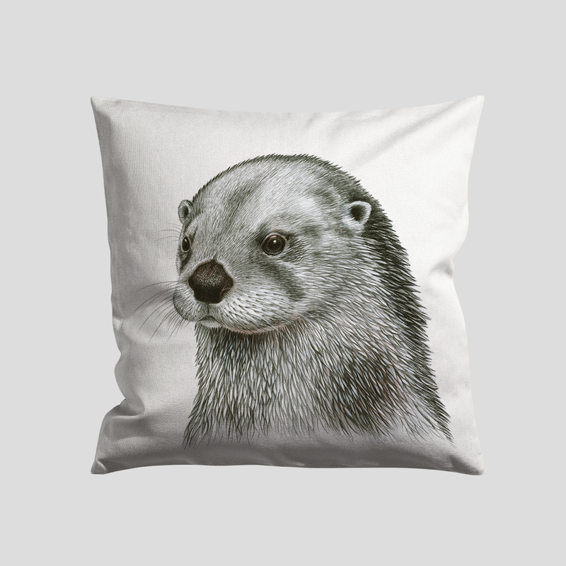 A otter art print on a cushion- by Charlotte Nicolin