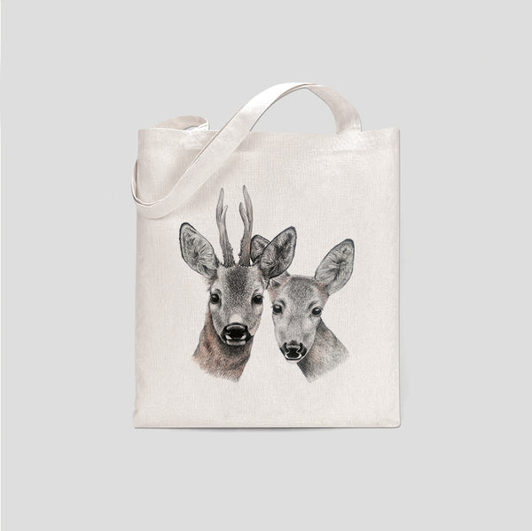 Gustav & Veronika deer couple tote bag