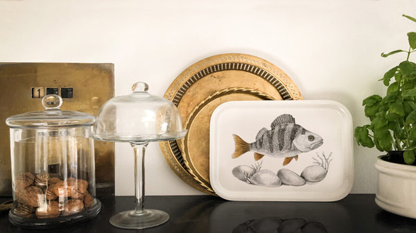 Perch fish on wooden tray