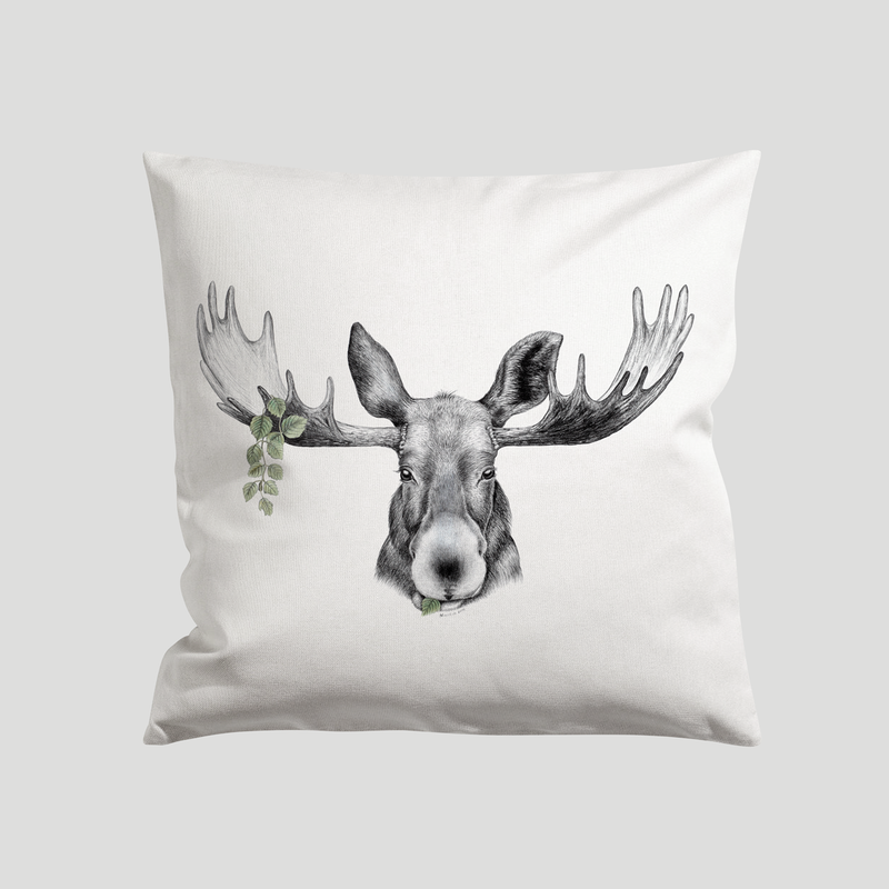 Elk print on a pillow - by Charlotte Nicolin
