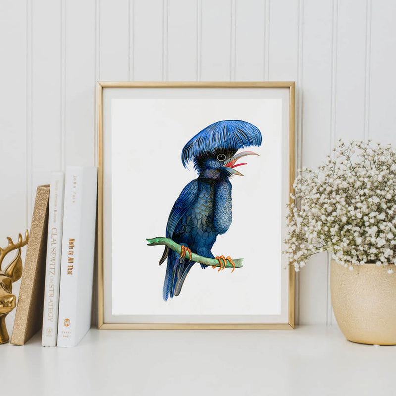umbrella bird art print