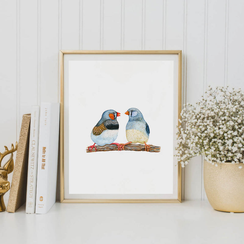 two blue birds art print