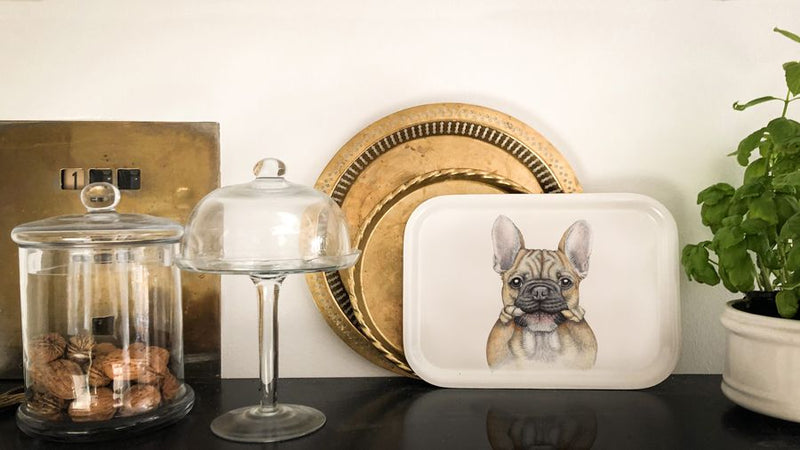 french bulldog print on tray