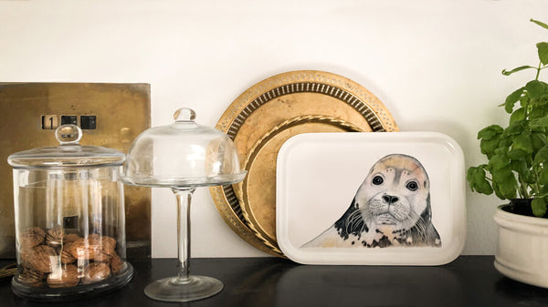 cute seal wooden tray