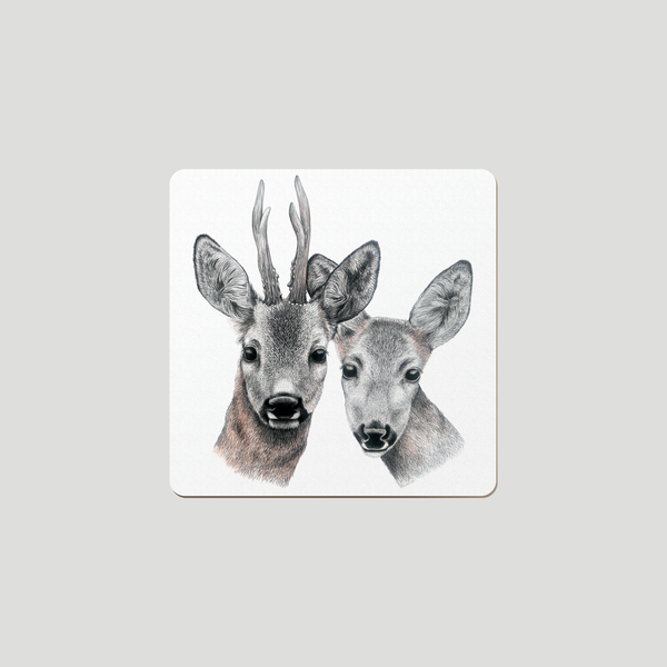 Deer couple on white background - drawing on a coaster , wildlife inspired art.