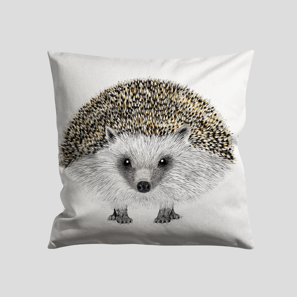 Hedge hog art print on a cushion - by Charlotte Nicolin