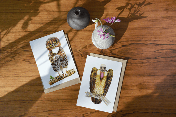 owl and vulture bird art card