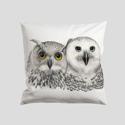 Owl print on a pillow - by Charlotte Nicolin