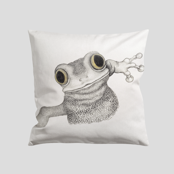 Happy frog on a pillow case - by Charlotte Nicolin