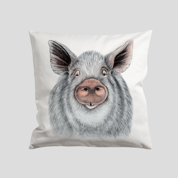 A happy pig on a pillow case / cushion cover - by Charlotte Nicolin