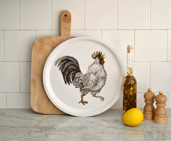 rooster round tray