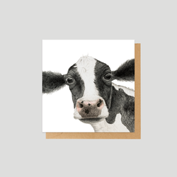 A black and white cow mini card - by Charlotte Nicolin