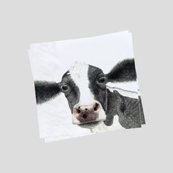 A black and white cow paper napkins - by Charlotte Nicolin