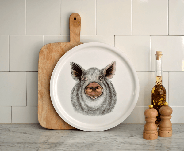 round serving tray pig