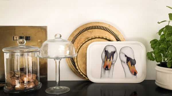 two swans tray