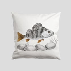 Perch swimming over rocks a art print on a cushion - by Charlotte Nicolin