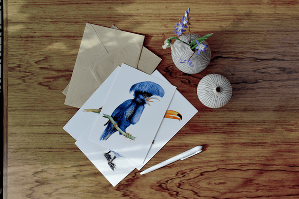 umbrella bird art card