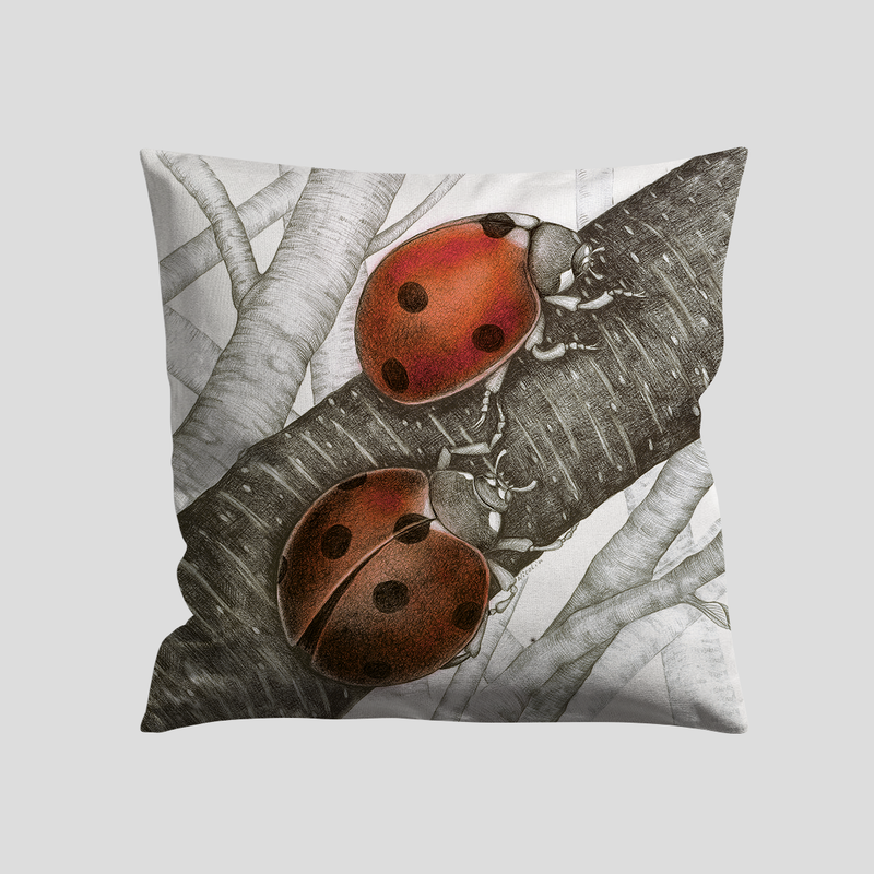 Two lady bugs on a branch - A art print on a cushion by Charlotte Nicolin