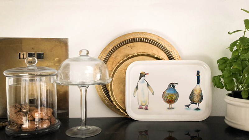 penguin quail and goose wooden tray