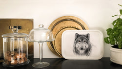wolf on wooden tray
