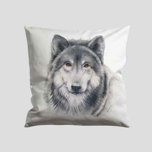 a drawing of a wolf on a cushion - by Charlotte Nicolin