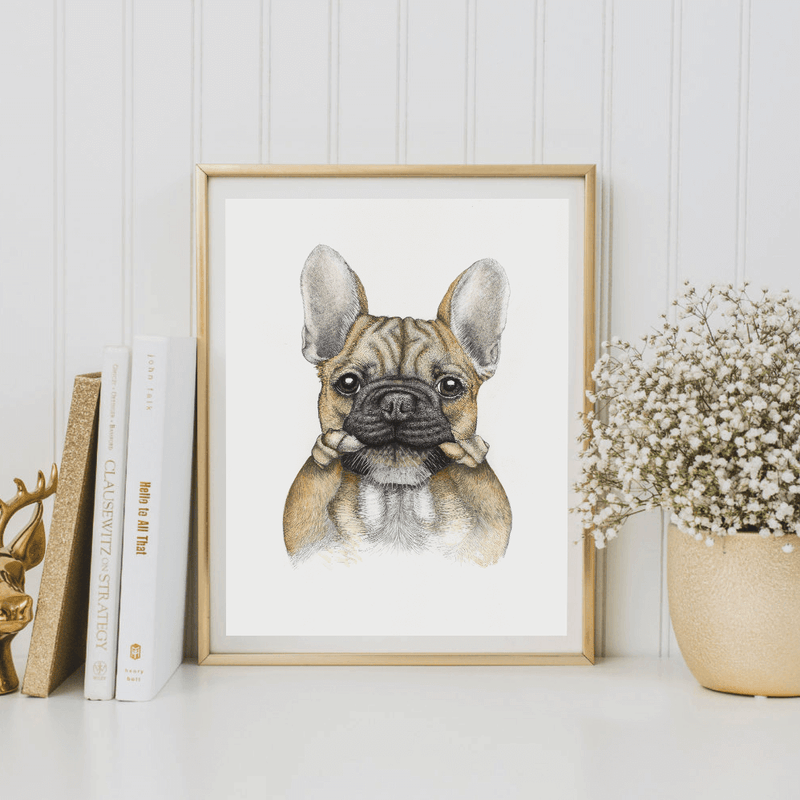bruce the french bulldog wall print