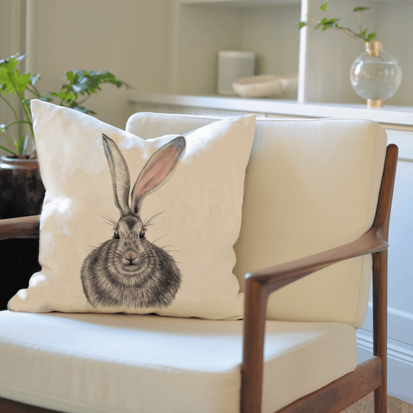 hare on cushion cover