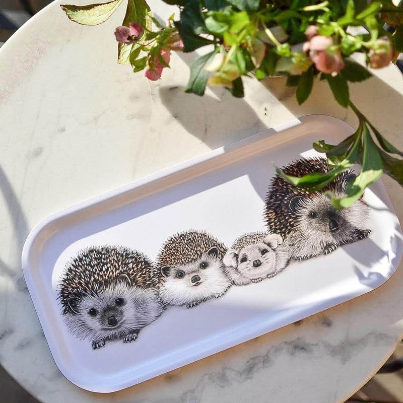 hedgehog family wooden tray