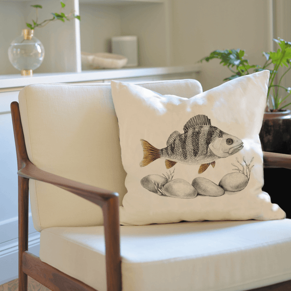perch fish on cushion cover