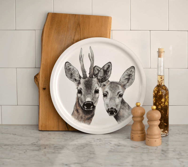 round serving tray deer couple
