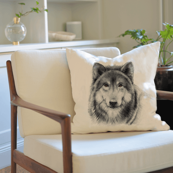 wolf on cushion cover
