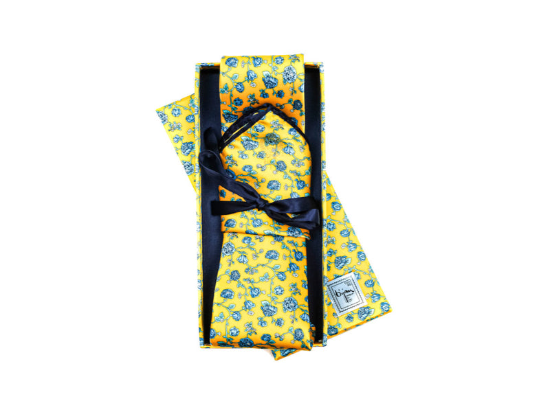 Bijan Yellow and Floral Print Pure Silk Tie Set