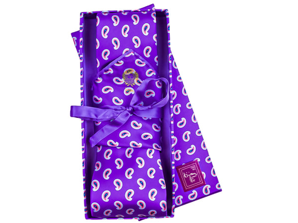 Bijan Purple Paisley Pure Silk Tie Set
