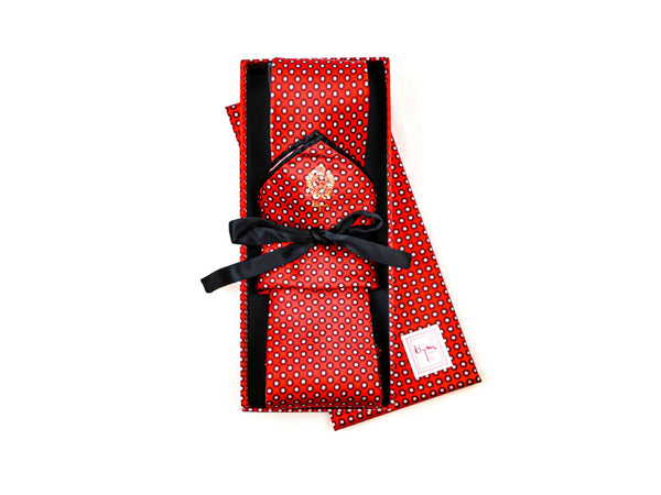 Bijan Red and White Polka Dot Pure Silk Tie Set