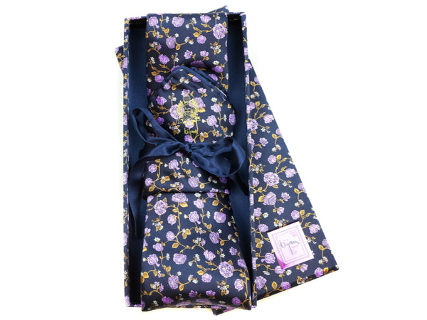 Bijan Purple Floral Pure Silk Tie Set