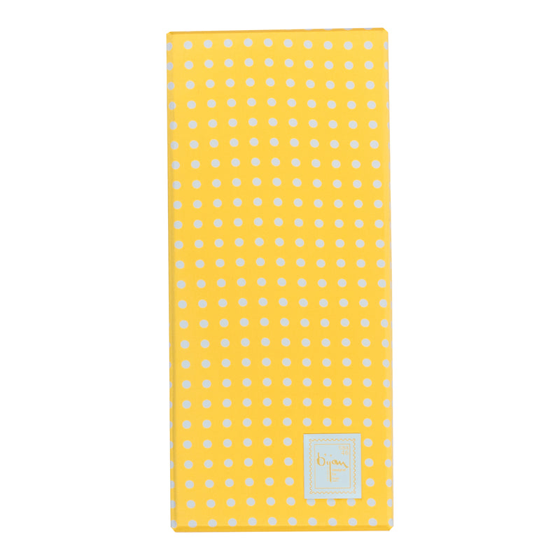 Bijan Yellow and White Polka Dot Pure Silk Tie Set