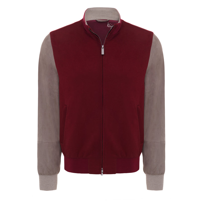 Bijan Burgundy and Taupe Cashmere and Suede Jacket