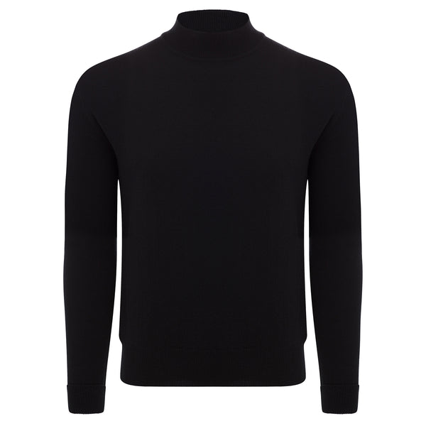 Bijan Pure Cashmere Black Mock-Neck Pullover Sweater