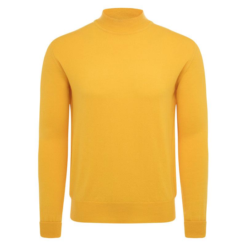 Bijan Pure Cashmere Yellow Mock-Neck Pullover Sweater