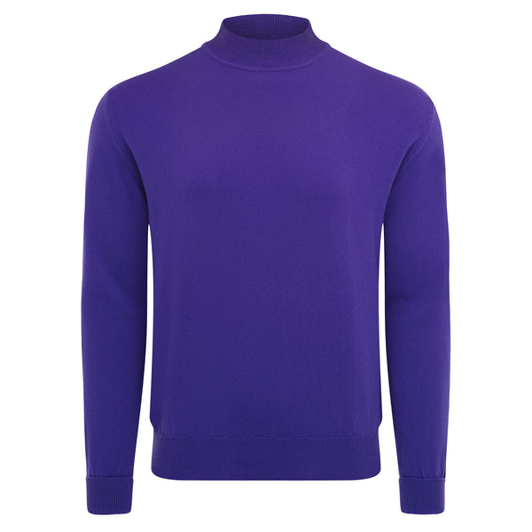 Bijan Pure Cashmere Purple Mock-Neck Pullover Sweater